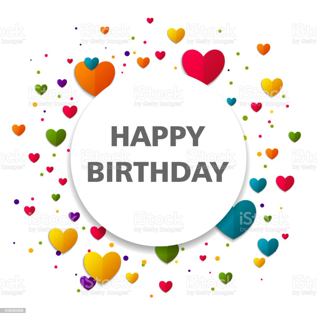 Vector Happy Birthday Greeting Card With Colorful Hearts Stock