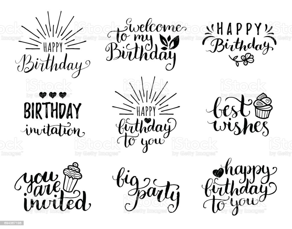 Vector Happy Birthday Hand Lettering Collection Big Party Best Wishes Etc Calligraphy Set For Greeting Cards