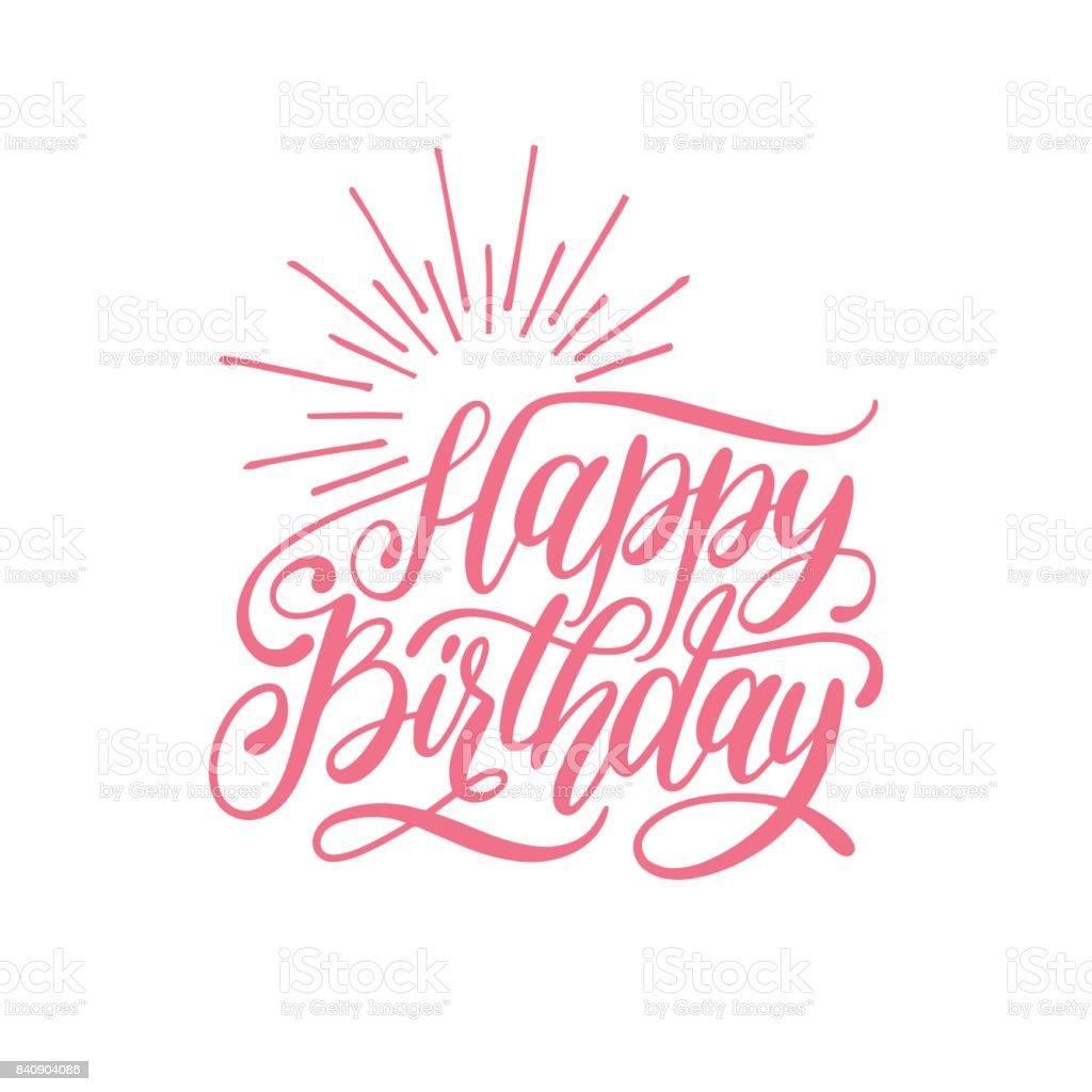 Ilustración De Feliz Cumpleaños Vector Mano De Letras Para