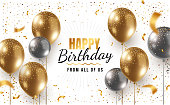 istock Vector happy birthday horizontal illustration with 3d realistic golden and silver air balloon on white background with text and glitter confetti. 1208584504
