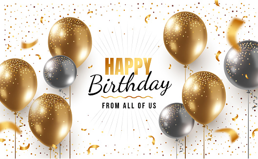 Vector happy birthday horizontal illustration with 3d realistic golden and silver air balloon on white background with text and glitter confetti.