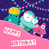 Vector banner and poster happy birthday illustration with cute cartoon monsters and garlands with place for text on confetti background