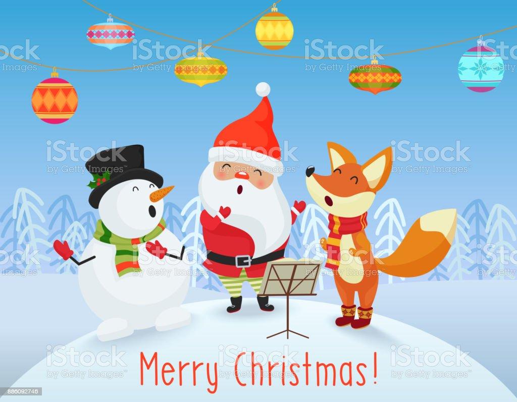 Vektor Glücklich Weihnachtskarte Mit Niedlichen Weihnachtsmann ...