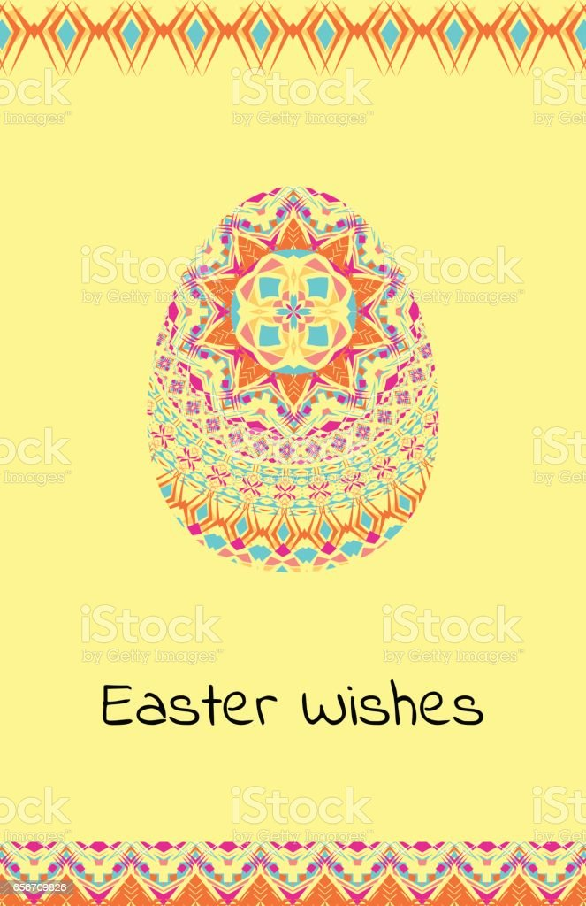 Vector Happy Easter Background With Easter Egg Mandalas
