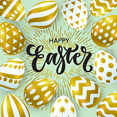 Vector illustration, trendy Easter background with realistic golden eggs and Happy Easter lettering.