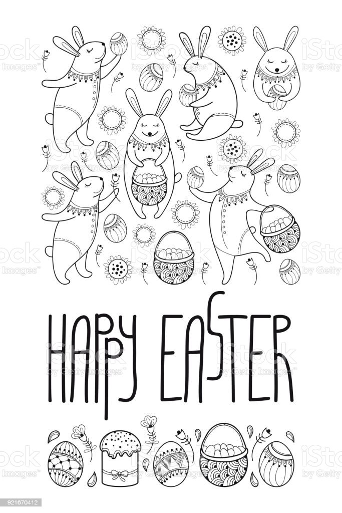 Vector Happy Easter Card With Outline Rabbit And Easter Symbols In