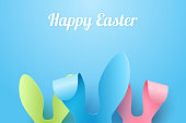 Vector Happy Easter Greeting Card with Color Paper Easter Ears on Blue Background