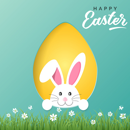 Vector Happy Easter greeting card with Easter bunny and colored paper egg