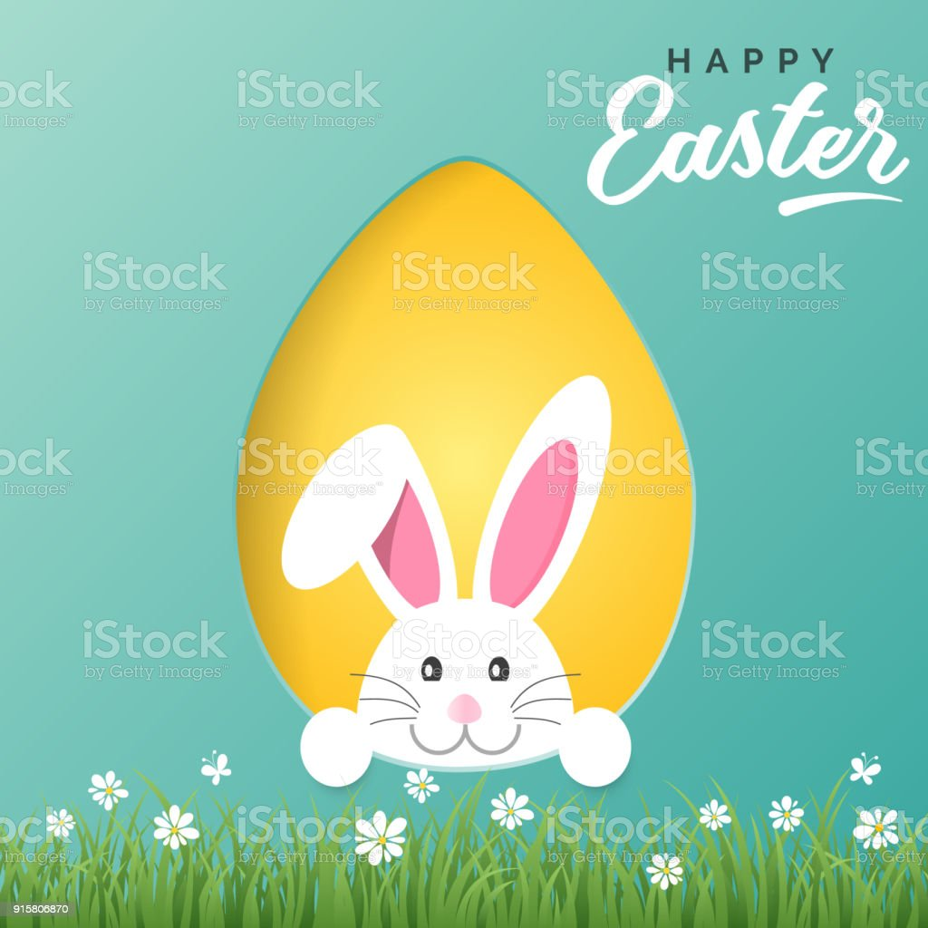 Vector Happy Easter greeting card with Easter bunny and colored paper egg vector art illustration