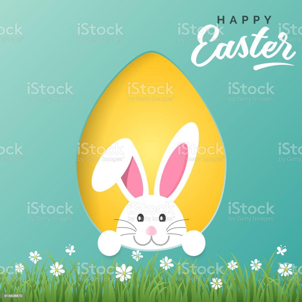 Carte de voeux de Joyeuses Pâques de vecteur avec le lapin de Pâques et oeuf de papier coloré - Illustration vectorielle