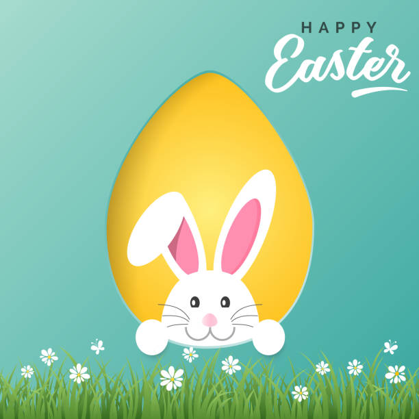 vector happy easter greeting card with easter bunny and colored paper egg - białoruś stock illustrations