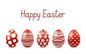 Vector Happy Easter greeting card with realistic eggs isolated.