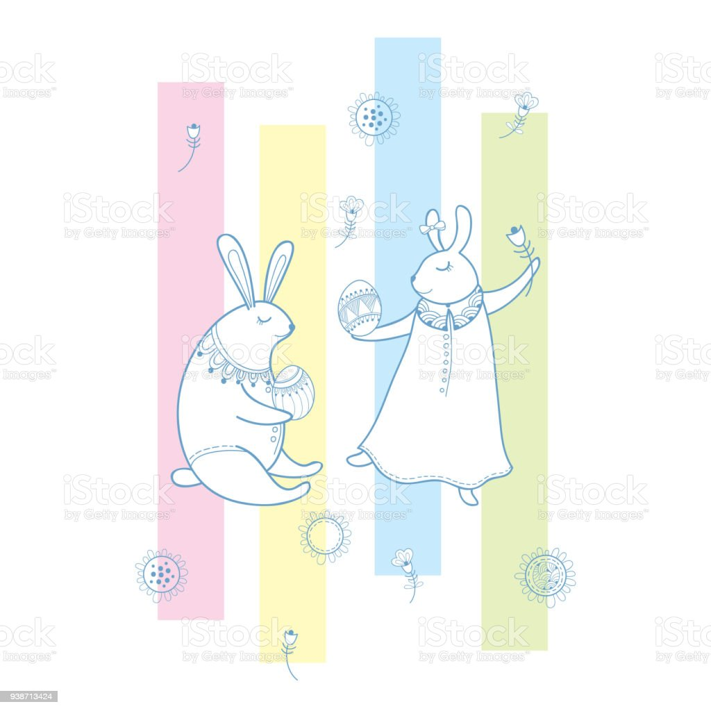 Vector happy easter greeting with outline rabbit couple traditional vector happy easter greeting with outline rabbit couple traditional easter symbol and stripes in pastel m4hsunfo