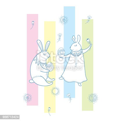 Vector happy easter greeting with outline rabbit couple traditional vector happy easter greeting with outline rabbit couple traditional easter symbol and stripes in pastel color isolated on white background stock vector art m4hsunfo Images