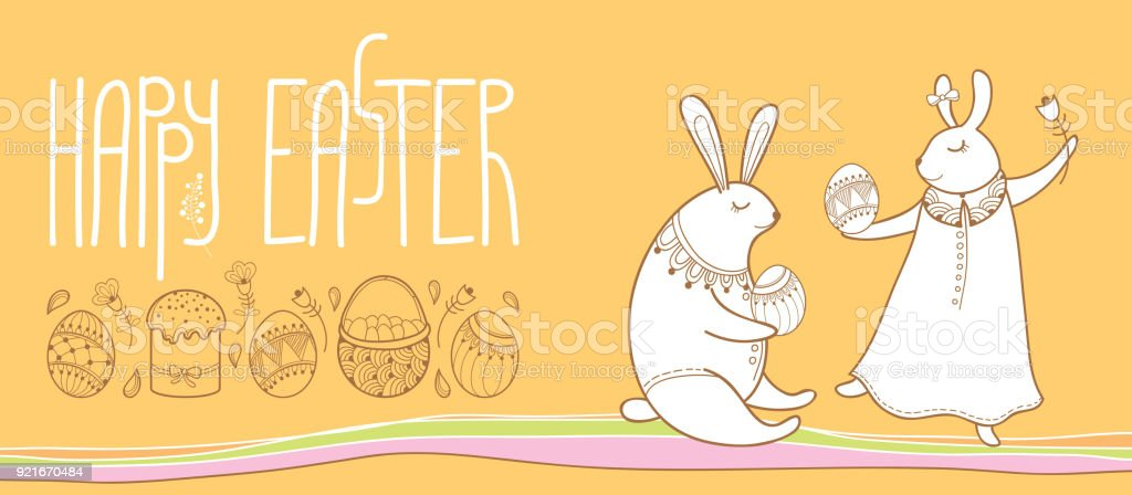 Vector Happy Easter Horizontal Greeting Card With Outline Easter