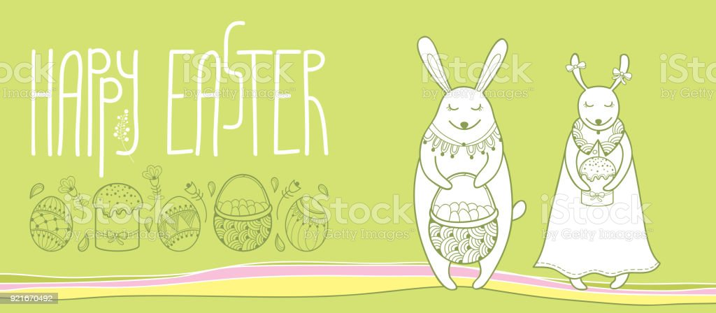 Vector happy easter horizontal greeting card with outline easter vector happy easter horizontal greeting card with outline easter rabbit couple and traditional easter symbol isolated m4hsunfo
