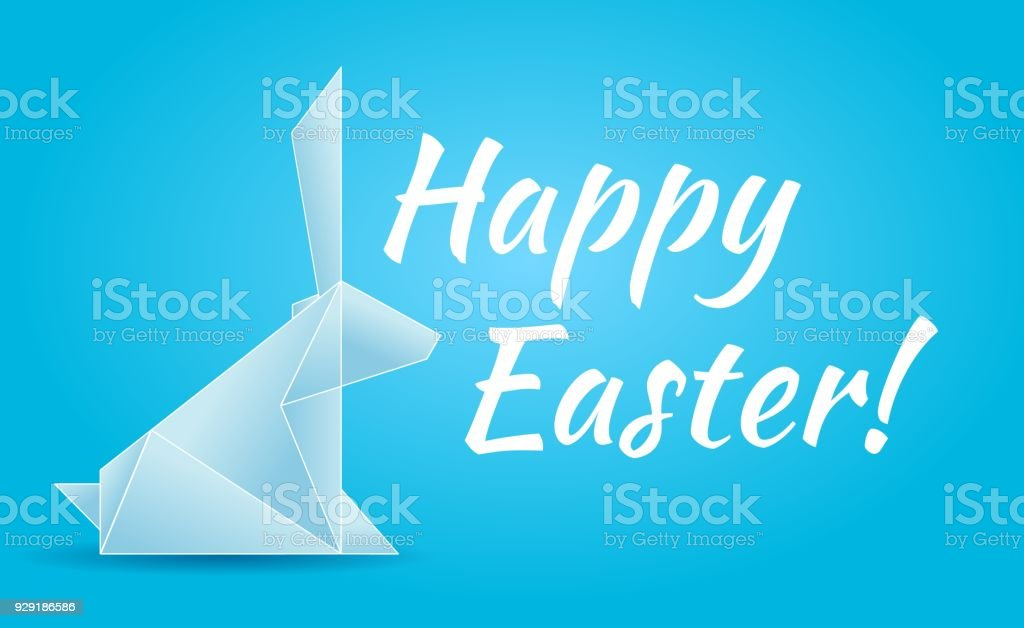 Vector Happy Easter Illustration With An Origami Rabbit Stock Vector