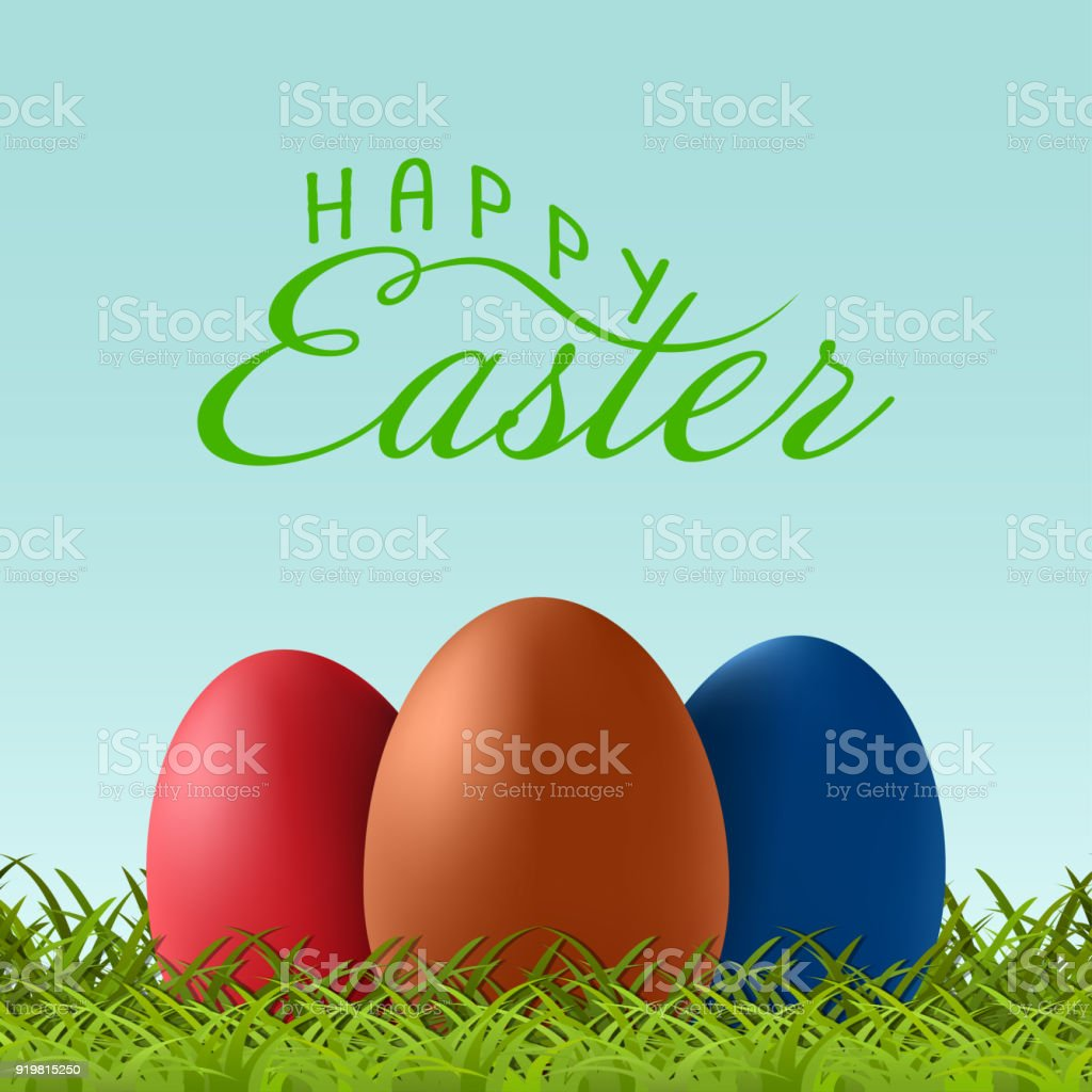 Vector happy easter text letterin with easter eggs on green grass vector happy easter text letterin with easter eggs on green grass template for greeting card m4hsunfo