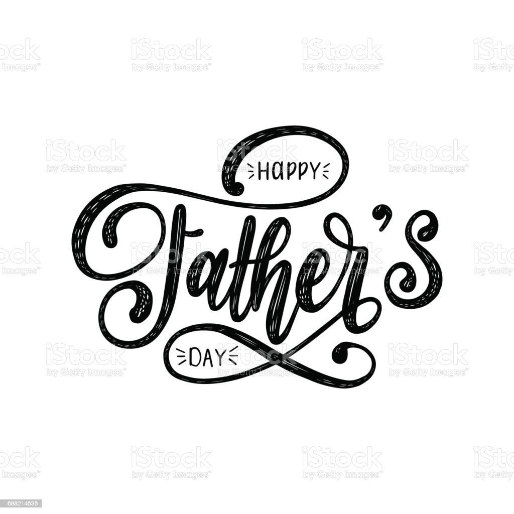 Vector Happy Fathers Day calligraphic inscription for greeting card, festive poster etc. Hand lettering illustration. vector art illustration