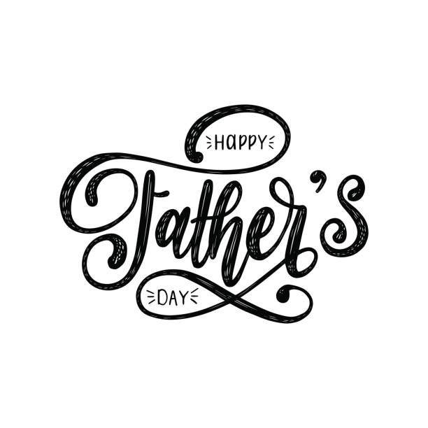 vector happy fathers day calligraphic inscription for greeting card, festive poster etc. hand lettering illustration. - fathers day stock illustrations, clip art, cartoons, & icons