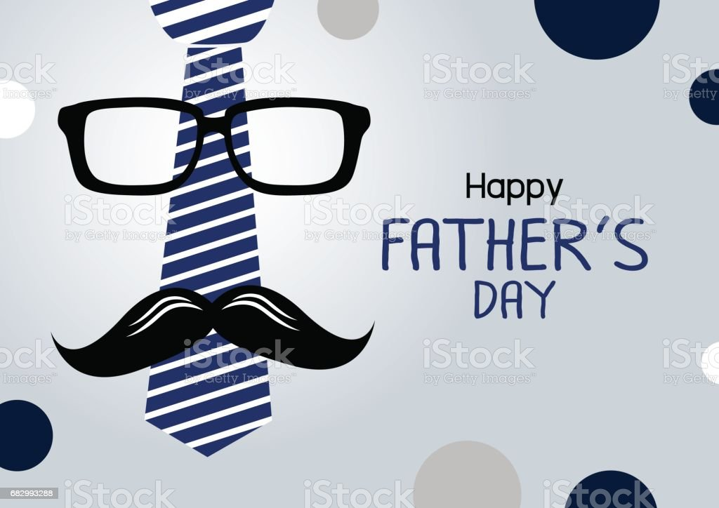 Vector happy fathers day concept design of necktie and glasses with mustache vector art illustration