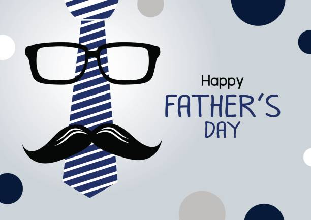 vector happy fathers day concept design of necktie and glasses with mustache - fathers day stock illustrations, clip art, cartoons, & icons