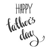 Vector happy father's day lettering. Hand drawn calligraphy. Gre