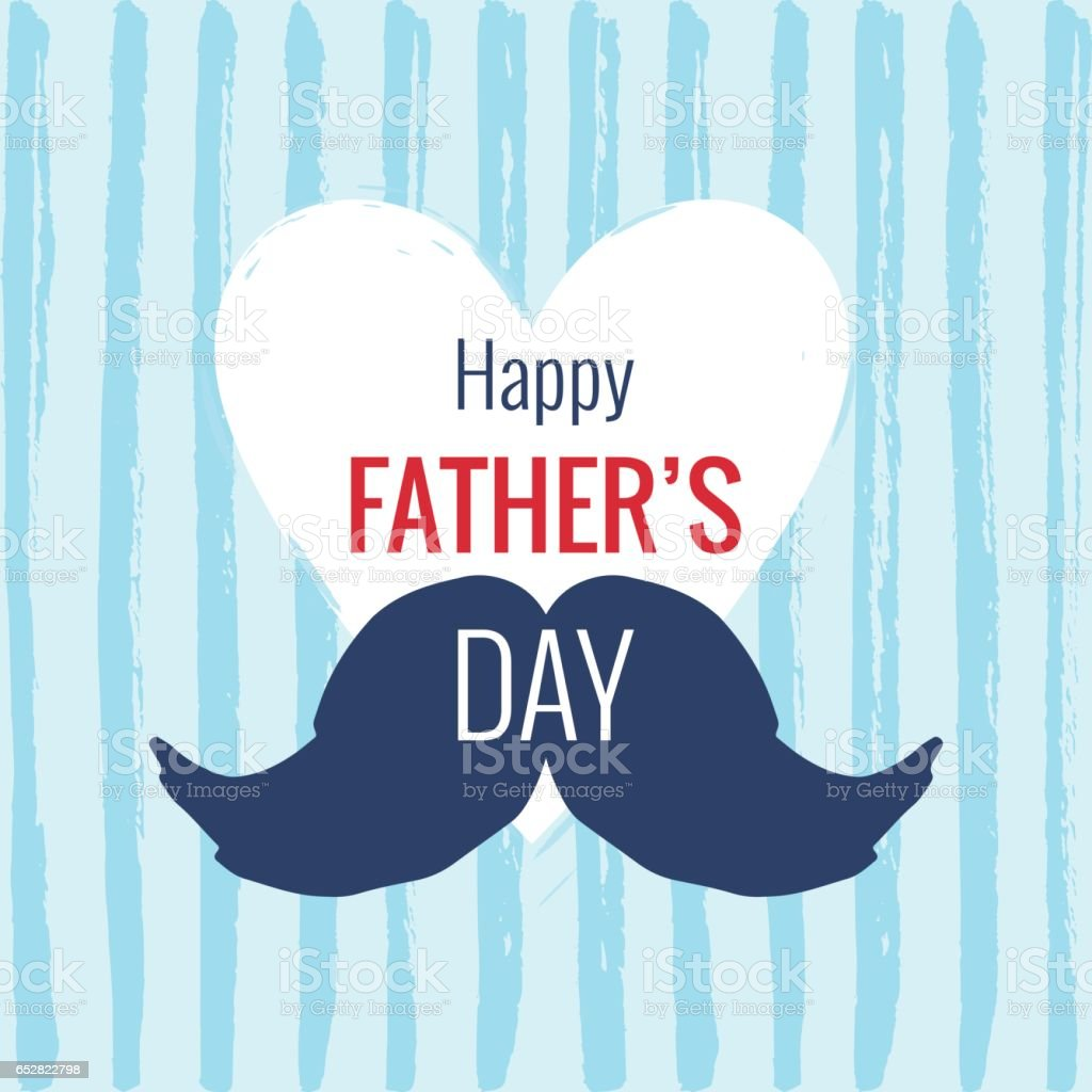 Vector Happy Fathers Day Phrase With A Mustaches Stock Illustration
