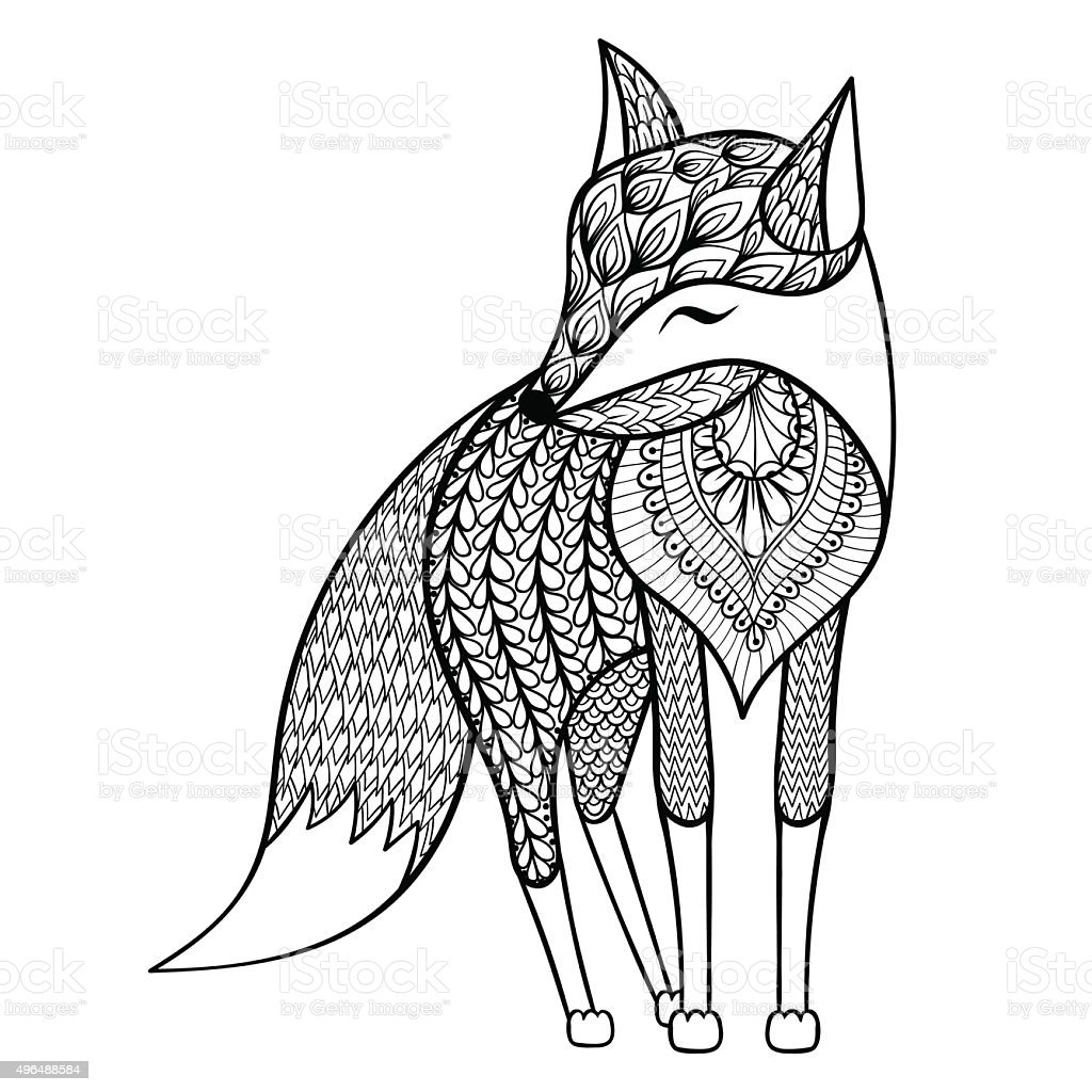 Stress Coloring Pages Animals : Vector happy fox for adult anti stress coloring pages