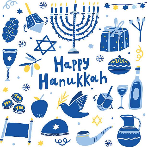 ilustraciones, imágenes clip art, dibujos animados e iconos de stock de vector happy hanukkah icon set - jánuca