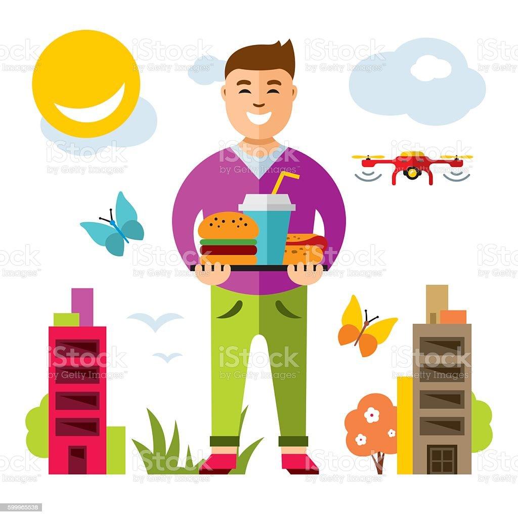 Vector Happy hipster man with hamburger, hot dog and drink vector art illustration
