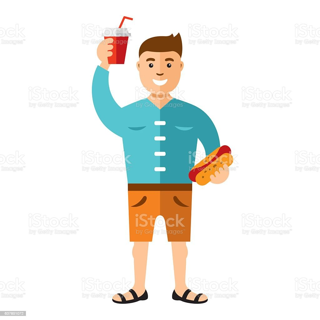 Vector Happy hipster man with hot dog and drink. Flat vector art illustration