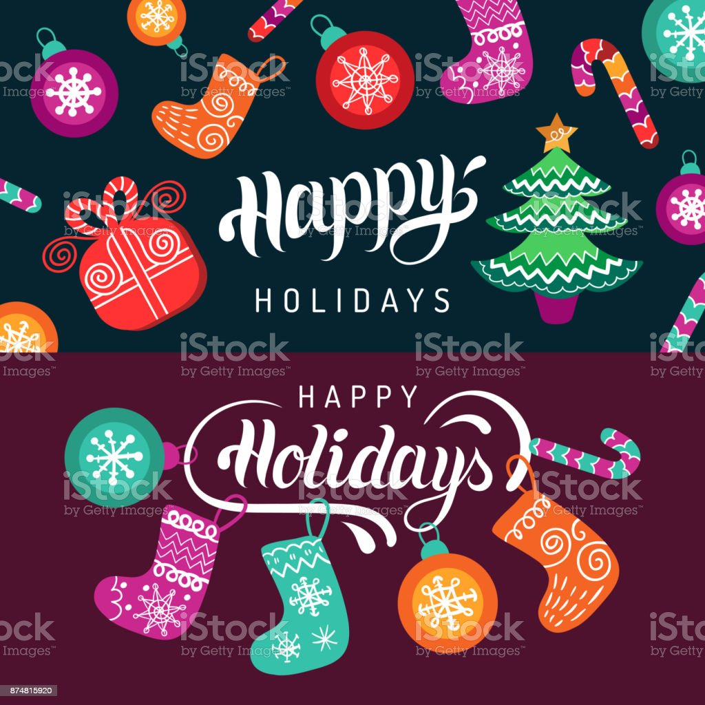 Vector happy holidays lettering design with festive new year vector happy holidays lettering design with festive new year elements christmas typography for greeting card m4hsunfo