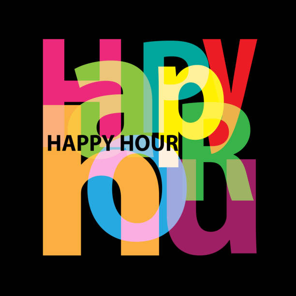 illustrazioni stock, clip art, cartoni animati e icone di tendenza di vector happy hour. broken text - aperitivo