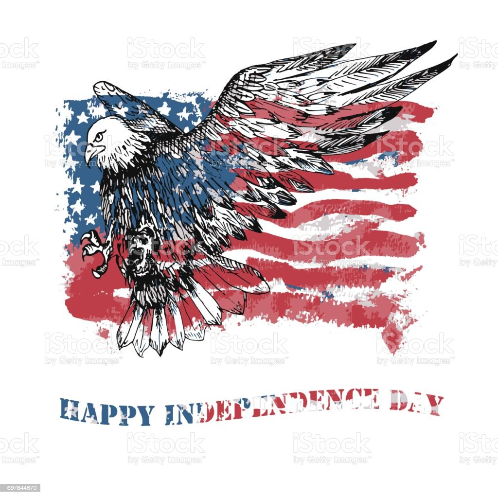 Vector Happy Independence Day greeting card. vector art illustration