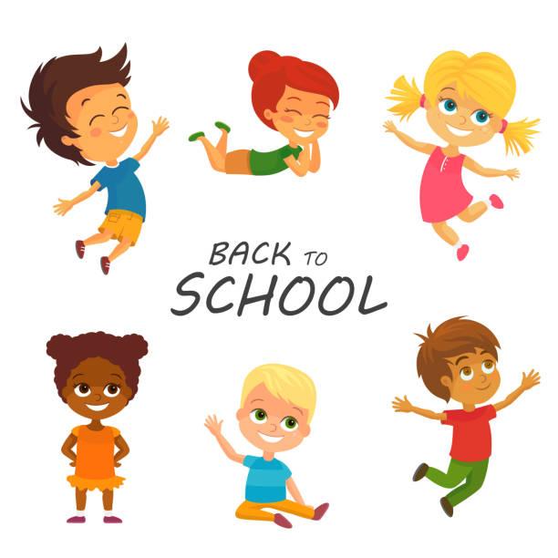 Vector Happy Kids having Fun. Back to School vector art illustration