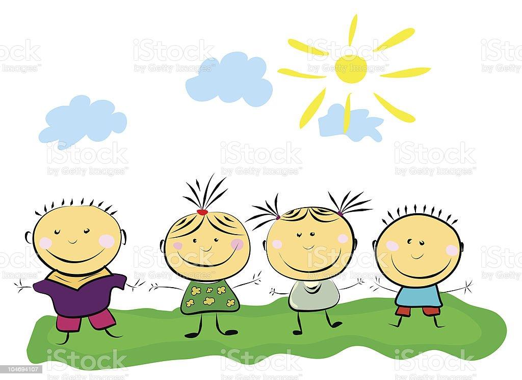 vector happy kids royalty-free vector happy kids stock vector art & more images of backgrounds