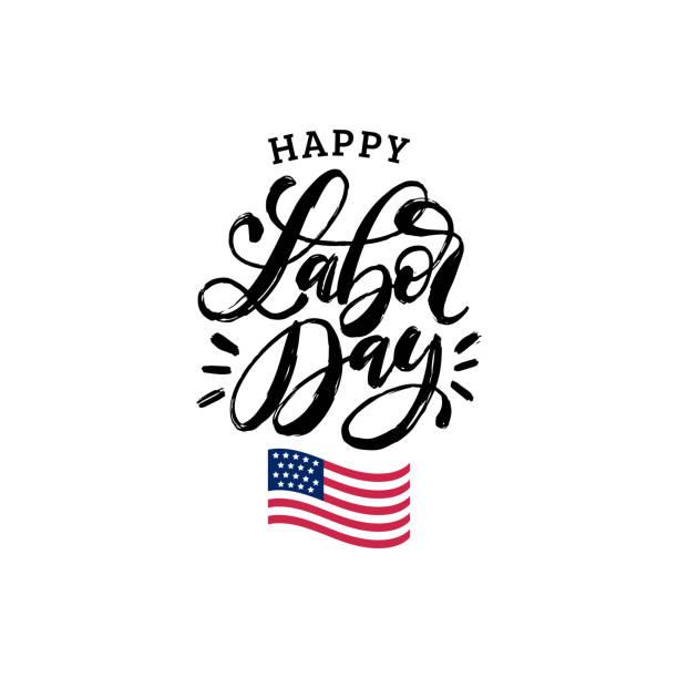 vektor glücklich labor day karte. amerikanischen nationalfeiertag illustration mit usa-flagge. poster oder banner mit hand-schriftzug. - tag der arbeit stock-grafiken, -clipart, -cartoons und -symbole