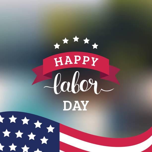 ilustraciones, imágenes clip art, dibujos animados e iconos de stock de tarjeta de feliz día de los trabajadores de vectores. ilustración de la fiesta nacional americana con bandera de estados unidos. cartel festivo con el deletreado de la mano. - día del trabajo