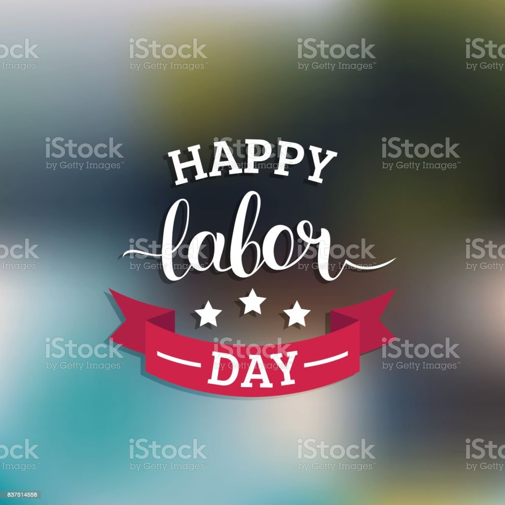 Vector Happy Labor Day card. National USA holiday illustration with ribbon and stars. Festive banner with hand lettering vector art illustration