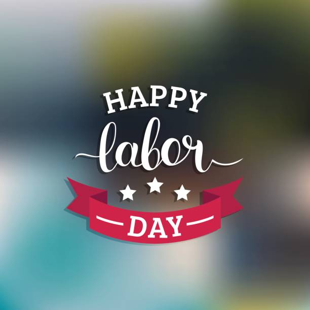 vector happy labor day card. national usa holiday illustration with ribbon and stars. festive banner with hand lettering - labor day stock illustrations, clip art, cartoons, & icons