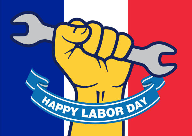 vector happy labor day on france flag - may day stock illustrations, clip art, cartoons, & icons
