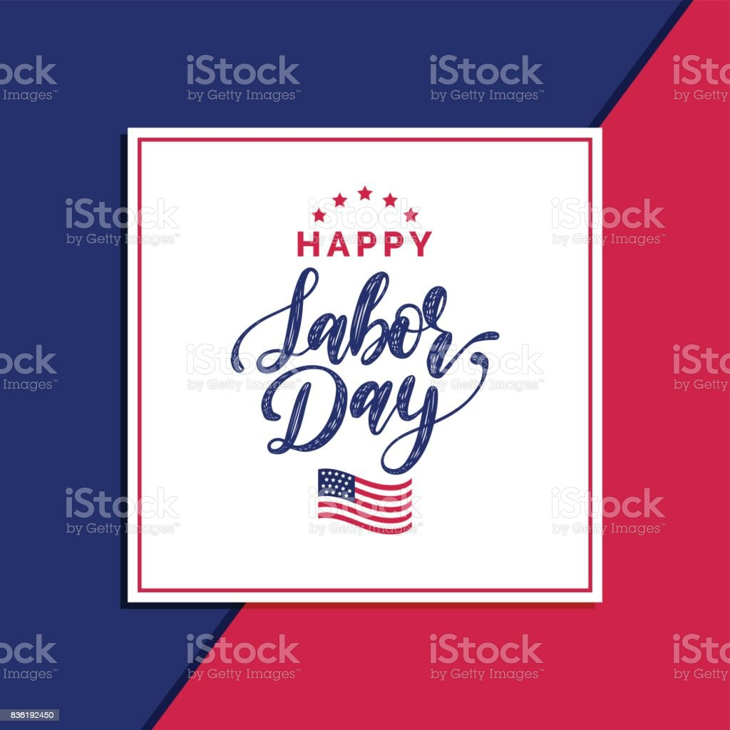 Vector Happy Labor Day Sale card. Poster with hand lettering of national american holiday. Special offer banner. vector art illustration