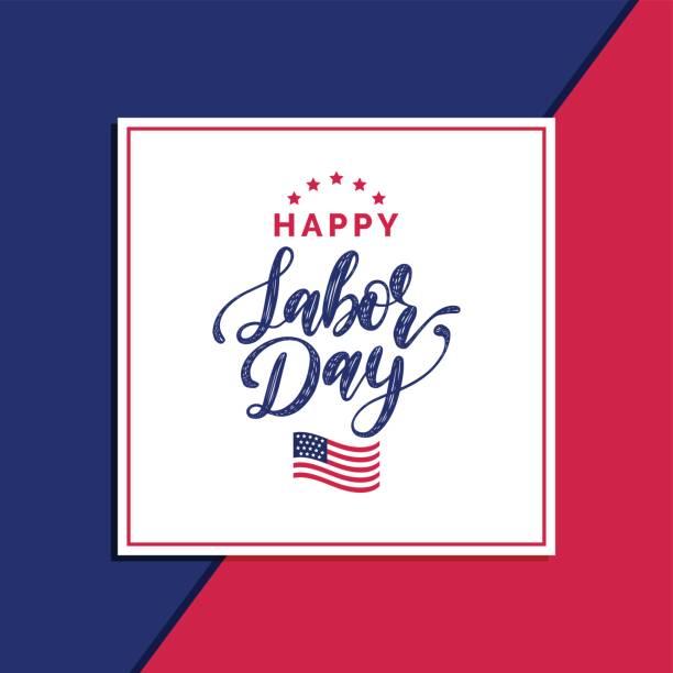 ilustraciones, imágenes clip art, dibujos animados e iconos de stock de tarjeta de feliz día del trabajo venta de vector. cartel con letras de mano de fiesta nacional estadounidense. banner oferta especial. - día del trabajo