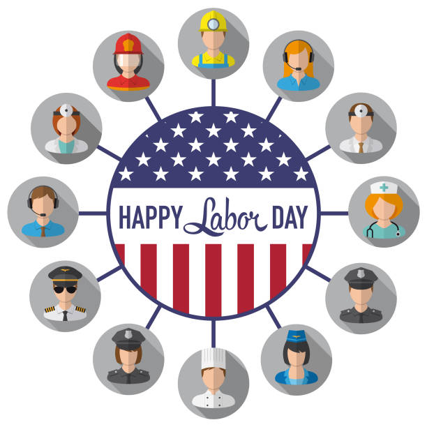 vector happy labor day - may day stock illustrations, clip art, cartoons, & icons
