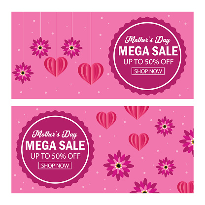 Vector Happy Mother's Day. Big sale banner. Mega sale, up to 50 % off