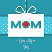 Happy Mothers Day celebration card on a blue background. Vector 12th May Mothers Day Vintage lettering background for your design.