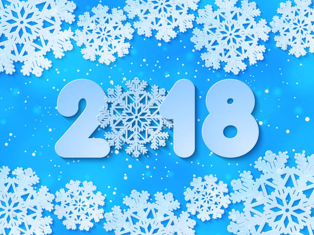 vector happy new year 2018 blue paper cut out background vector art illustration