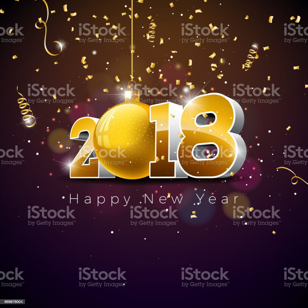 vector happy new year 2018 illustration on shiny lighting background with typography design royalty