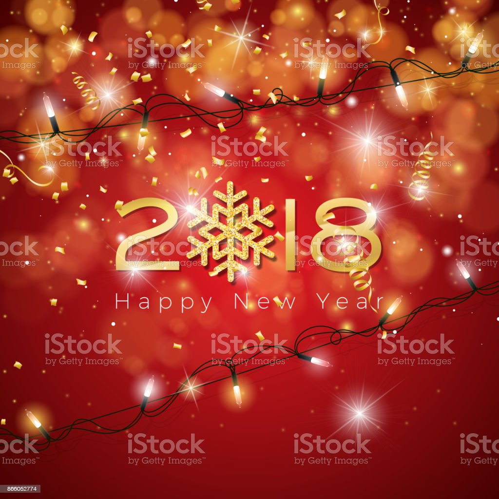 vector happy new year 2018 illustration on shiny lighting blue background with typography royalty